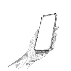 phone in hand low poly BW