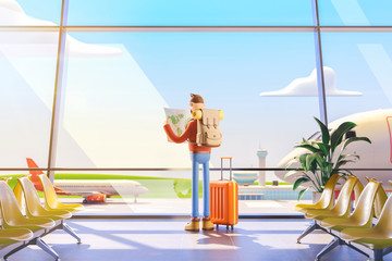 Cartoon character tourist holds world map in hands in airport. 3d illustration.