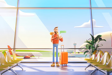 Cartoon character tourist writes a message on the phone in airport. 3d illustration.