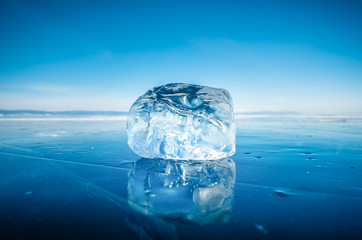 Close-up of natural breaking ice on frozen water in Lake Baikal, Siberia, Russia.