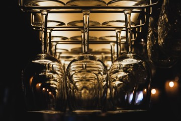 Wine Glasses with a Dark Background