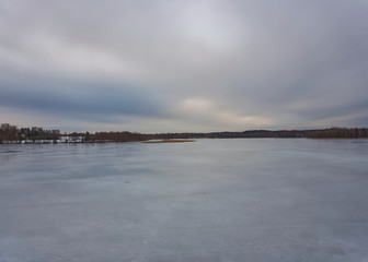 Cloudy winter landscape from the lake