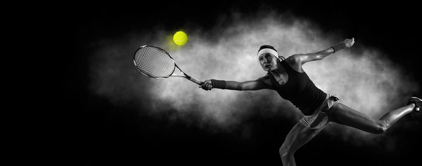 Female tennis player in action during game