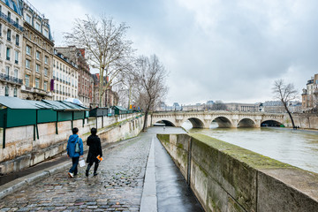 Paris, France - January 02, 2013:  View of the Seine river