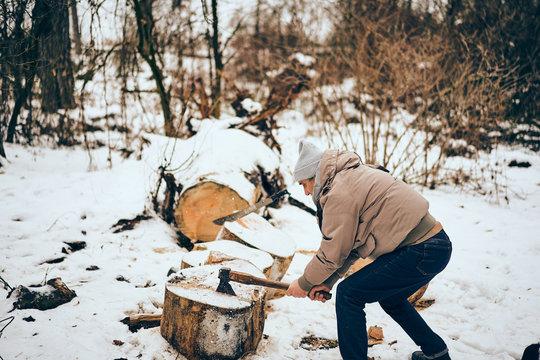Senior man working in a personal lumber yard