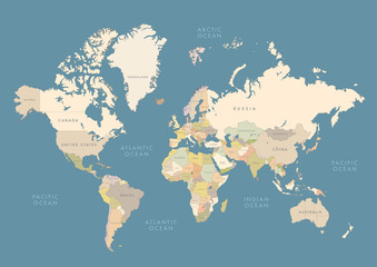 Highly detailed world map with labeling. Сountries in different color