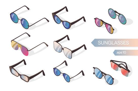Set of colored sunglasses on a white background. Isometric flat illustration