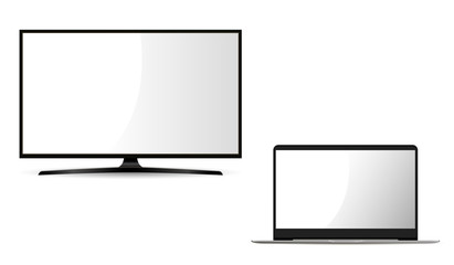 Monitor and Laptop Mockup Illustration. Flat Set of Portable Notebook Pc and Lcd Monitor. Layout for Web with Empty White Screen. Personal Digital Technology. Tv Plasma Panel on Stand.