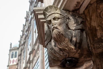 Old statue on the town hall in Arnhem, the Netherlands