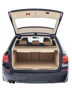 Wide open modern car trunk