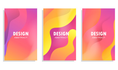 Dynamic style banner design set with fluid orange gradient elements. Creative illustration for poster, web, landing, page, cover, ad, greeting, card, social