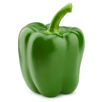 sweet green pepper, paprika, isolated on white background, clipping path, full depth of field