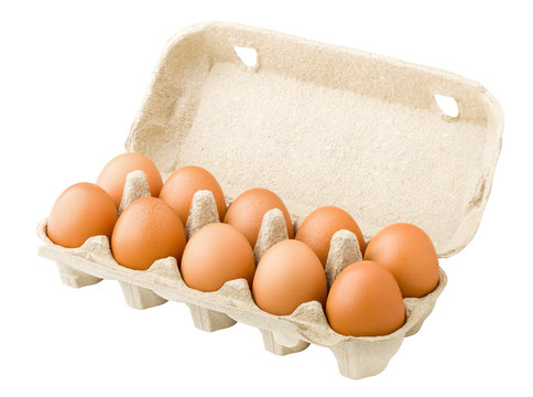 chicken eggs, ten, in paper box, isolated on white background, clipping path, full depth of field