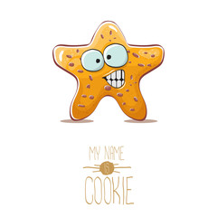 vector funny hand drawn star shape cookie character isolated on white background. My name is cookie concept illustration. funky lovely food character or bakery label mascot