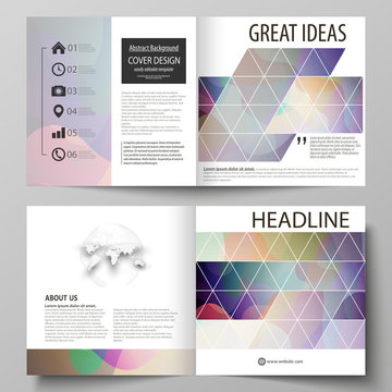 Business templates for bi fold square brochure, magazine, flyer, annual report. Leaflet cover, flat style vector layout. Bright color pattern, colorful design with shapes forming abstract background.