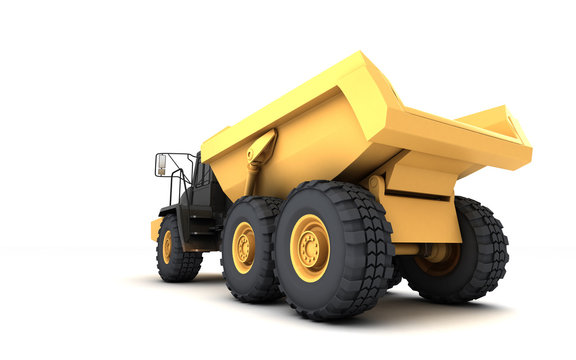 Yellow powerful articulated dumper truck isolated on white background. Rear side view. Perspective. Low angle. Wide angle. Left side.