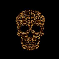 Tracery wave pattern skull. Vector. Element. Symbol.