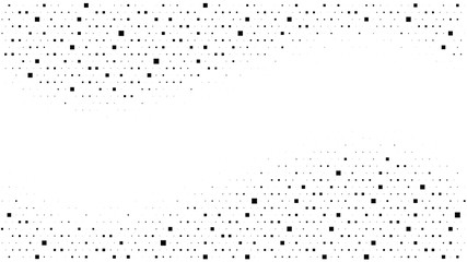 Halftone gradient pattern. Abstract halftone square dots background. Monochrome dots pattern. Pop Art, Comic small dots. Wavy twisted strip. Banner with space. Design for presentation, flyer, card