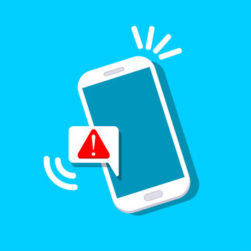 Alert notification with exclamation sign on phone screen. Important reminder isolated on background. Telephone technology. Vector flat design