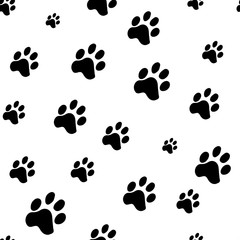Seamless pattern of animal paws on white background