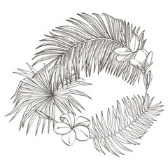 Tropical palm leaves. Design template. Graphic illustration.