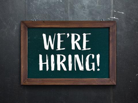 We're hiring on industrial chalkboard.