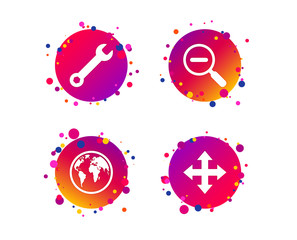 Magnifier glass and globe search icons. Fullscreen arrows and wrench key repair sign symbols. Gradient circle buttons with icons. Random dots design. Vector