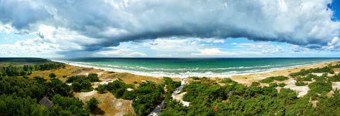 view from lighthouse Darsser Ort to baltic sea beach
