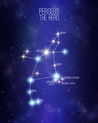 Perseus the hero constellation on a starry space background with the names of its main stars. Relative sizes and different color shades based on the spectral star type.