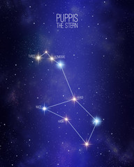 Puppis the stern constellation on a starry space background with the names of its main stars. Relative sizes and different color shades based on the spectral star type.