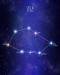Vela the sails constellation on a starry space background with the names of its main stars. Relative sizes and different color shades based on the spectral star type.