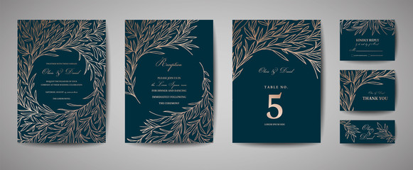 Luxury Wedding Save the Date, Invitation Cards Collection with Gold Foil Leaves and Wreath. Vector trendy cover, graphic poster, geometric floral brochure, design template