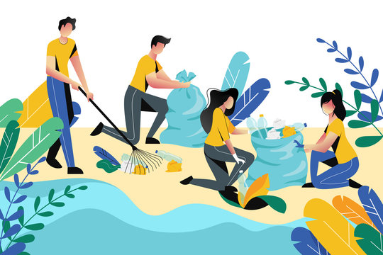 Volunteering, charity social concept. Volunteer people cleaning garbage on beach area or city park, vector illustration