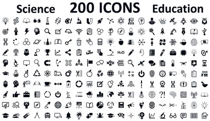 Education, school, science and knowledge icons set, 200 illustration in flat style – stock vector