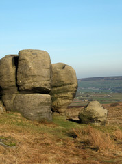 the bridestones a large group of gritstone rock formations in west yorkshire landscape near todmorden