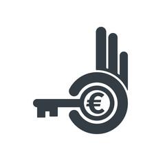 Hand holding key with euro symbol