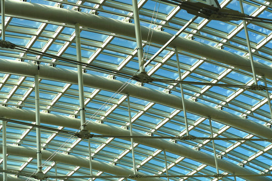 Abstract of glass and steel roof to atrium