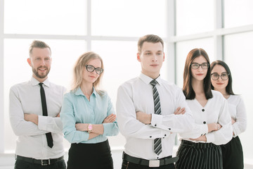 successful business team standing in a bright office