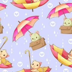 Cat and umbrella cartoon design seamless pattern