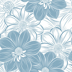 Seamless hand-drawing floral pattern  with flower dahlia.