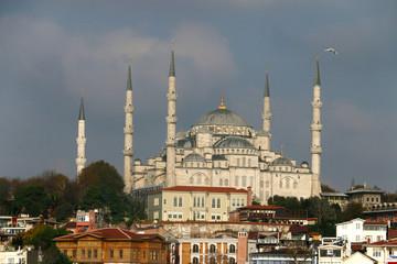 Looking Blue mosque Sultanahmet through the bosporus - famous landmark in Istanbul