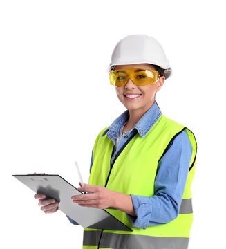 Female industrial engineer in uniform with clipboard on white background. Safety equipment