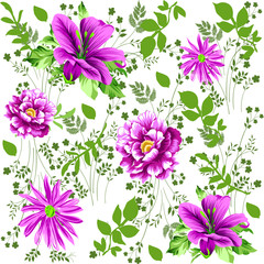 Flower seamless pattern with small floral background