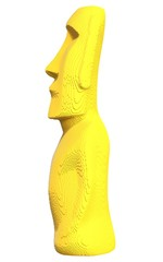 Yellow voxel Moai statue on a white background.