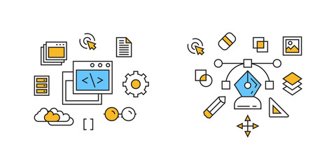 Program and Design Illustration. Programming and Designing Concept with Doodle Style Flat Line Design. Thin Line Vector In Orange and Blue Colors. Programmer vs Designer Monoline Design