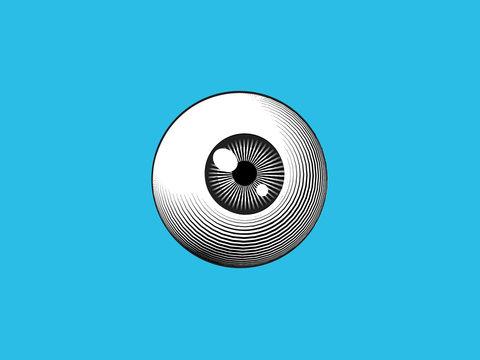 Engraving eyeball illustration on blue BG