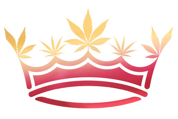 Pink & Gold Ombre Metallic Marijuana / Cannabis Leaf Crown