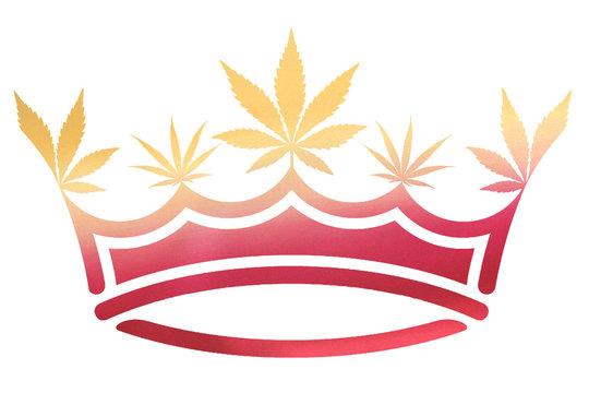 Pink & Gold Ombre Metallic Marijuana / Cannabis Leaf Crown