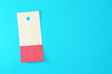 rectangle paper tag on blue background horizontal template