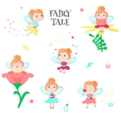 Cute little fairy icon set vector isolated illustration
